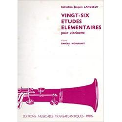 Collection Jacques Lancelot : 26 ETUDES ELEMENTAIRES pour clarinette d'après Dancla , Wohlfart